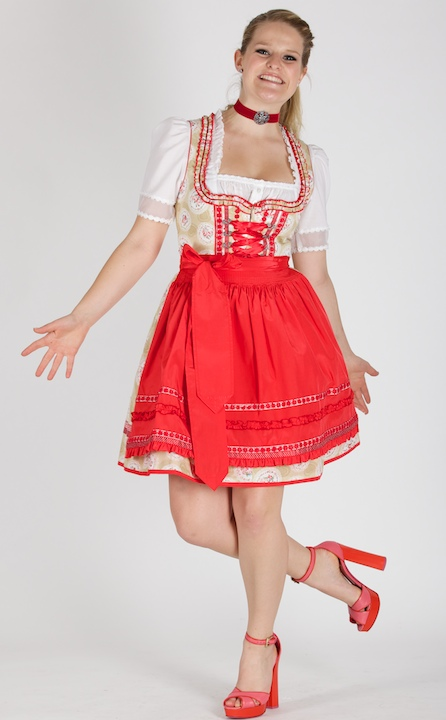 kr ger madl dirndl freches 50er dirndl in beige rot mit. Black Bedroom Furniture Sets. Home Design Ideas