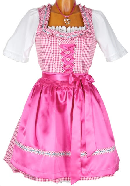 5242 fesches 50er mini dirndl gr 42 pink wei karo. Black Bedroom Furniture Sets. Home Design Ideas