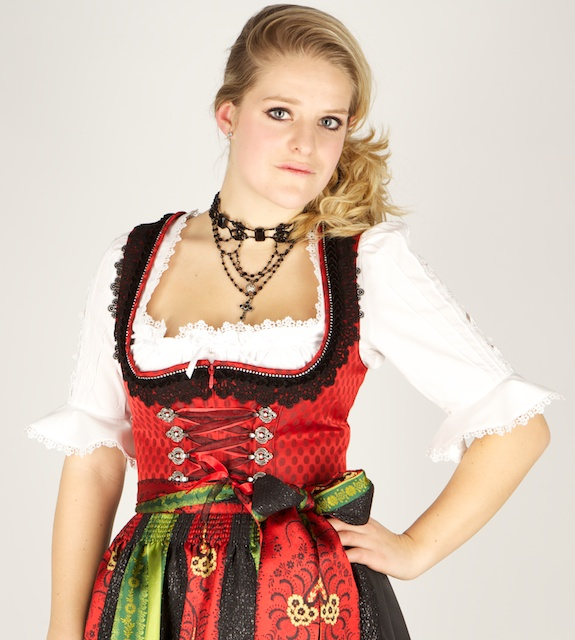8307 designer kr ger 95er dirndl gr 40 rot schwarz. Black Bedroom Furniture Sets. Home Design Ideas