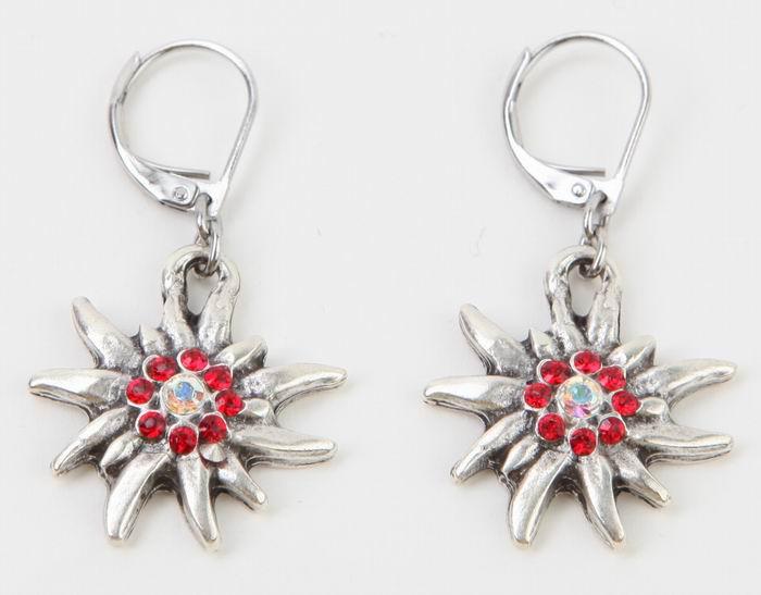 Trachten Ohrringe Edelweiss rot