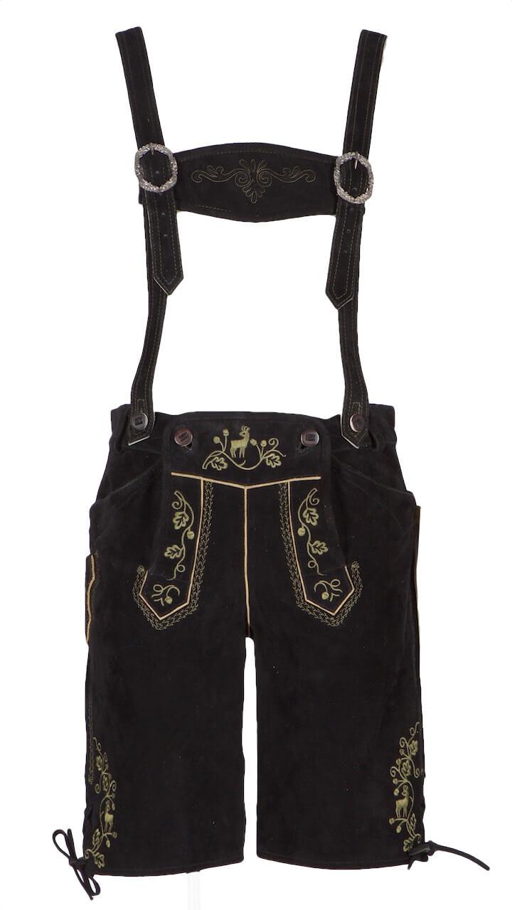 alvius kurze lederhose gr 50 wb schwarz stick antik gr n. Black Bedroom Furniture Sets. Home Design Ideas
